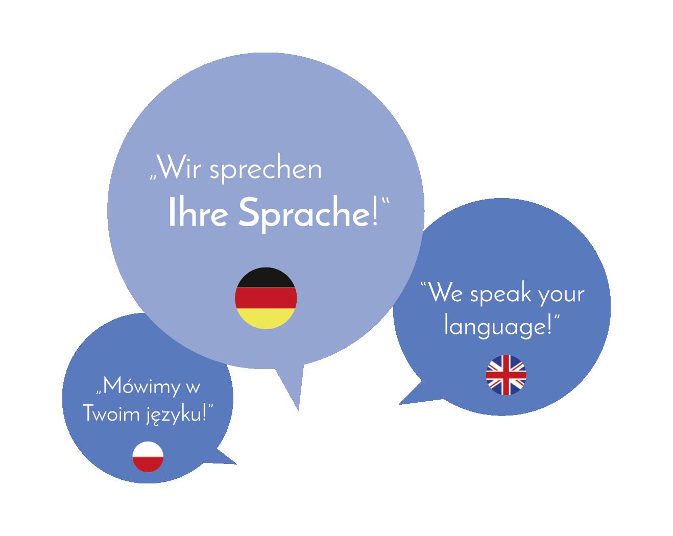 Wir sprechen deutsch, englisch und polnisch.